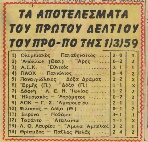 Ποιο ήταν το πρώτο δελτίο ΠΡΟ-ΠΟ στην Ελλάδα;